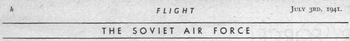 Flight 07 1941. The Soviet Air Force