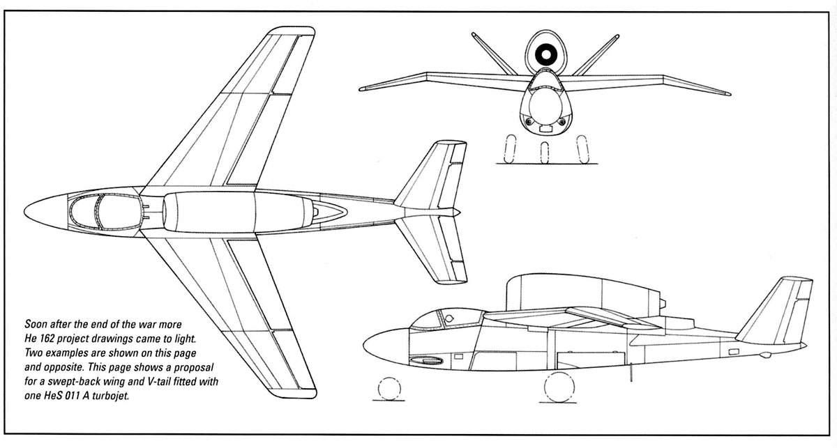 Схема самолета He-162