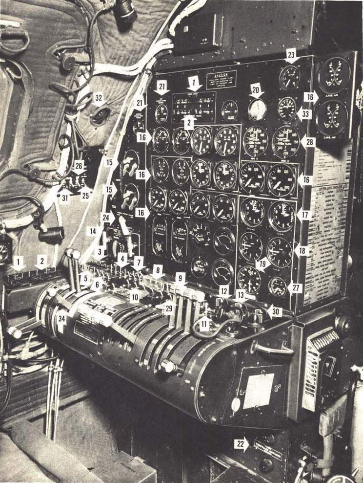 The B-29. The flight engineer`s stand mounts the engine controls and gages.