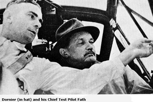 Dornier (in hat) and his Chief Test Pilot Fath