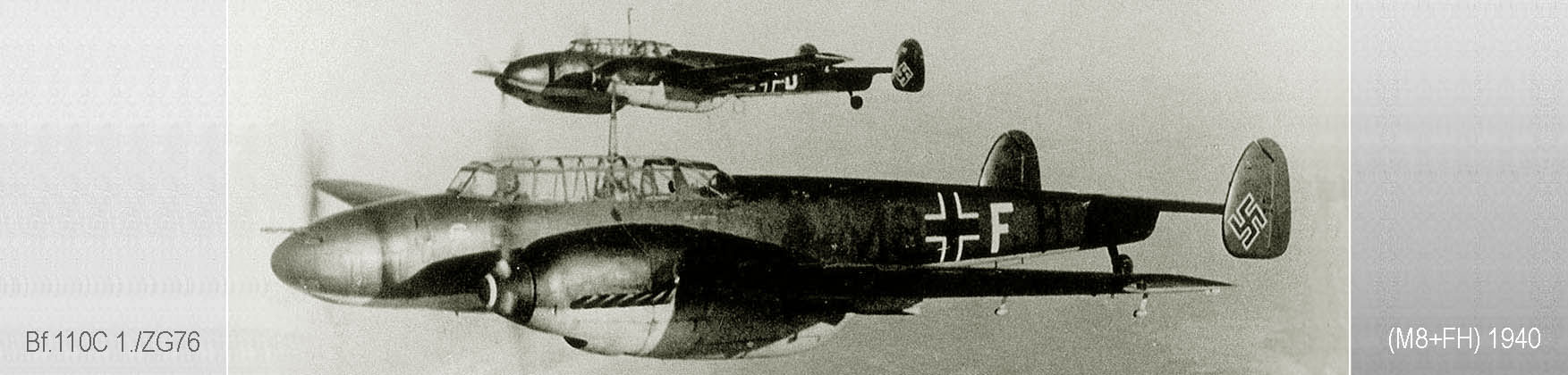 Bf 110C Zerstorer 1./ZG76 (M8+FH) over the North Sea 1940