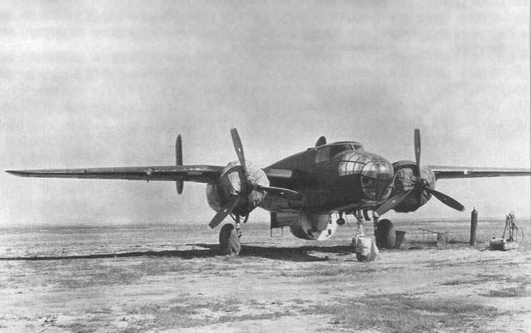 B-25 with the Aircraft '346' suspended jettisonable cockpit at the Flight Research Institute