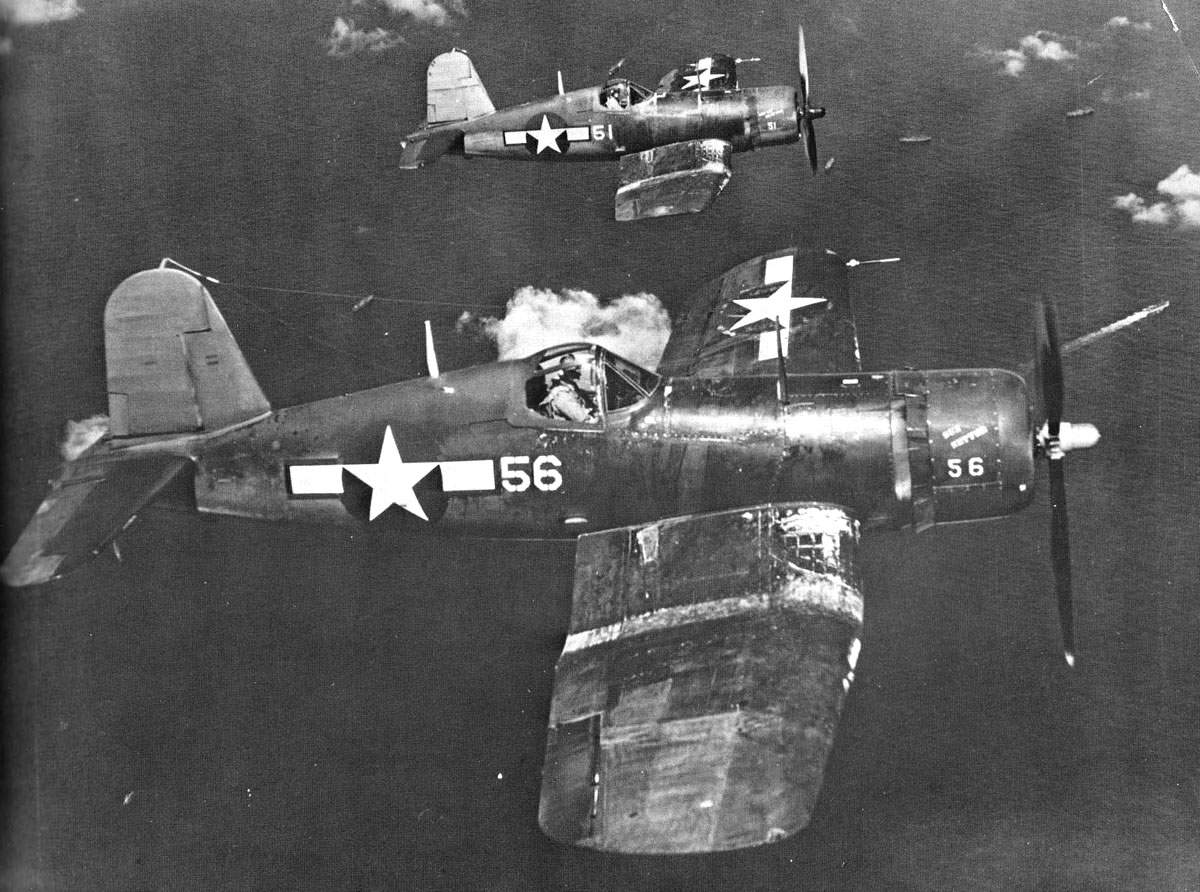F4U-1As of VMF-113 patrol near Eniwetok, Marshall Islands.