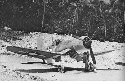 F4U-1Aof VMF-212 'MARY-Jo' in a dirt revetment on Vella Lavelia
