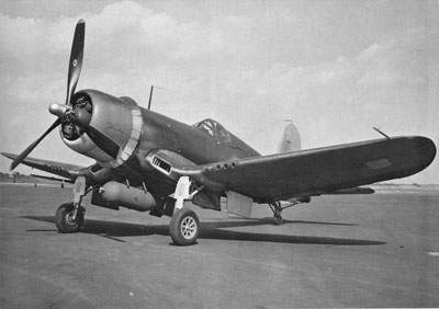 F4U-1A [18026] with a Brewster designed adapter rack securely holds 1000-lb. bomb.