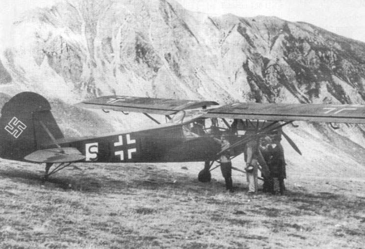 Otto Skortzeni used this Fi 156C-3 (SU+LL) on September, 12, 1943 to exempt Benito Mussolini arrested in hotel in mountains Gran Sasso