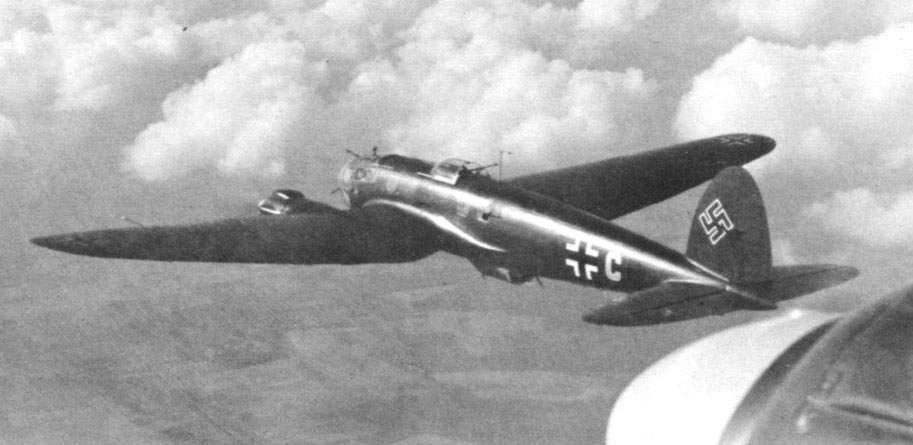 The He 111H-3 from Kampfgeschwader 55 in flight over France.