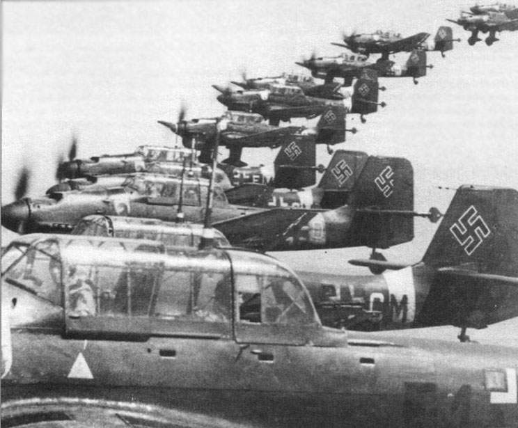 The Ju-87 from 7-th and 8-th StG77 return after a strike to Sevastopol