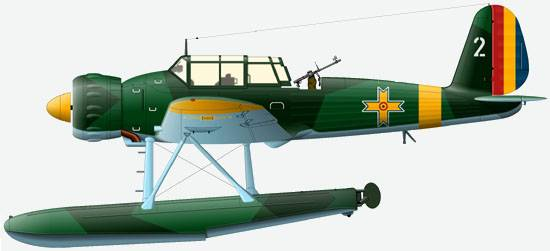 The Ar.196A-3 from 102-nd squadron of a flotilla of seaplanes of air force of Romania