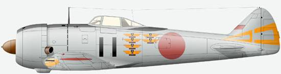 The Ki-44-II of 3-rd Chutai, 70-th Sentai, Japan, June 1945.