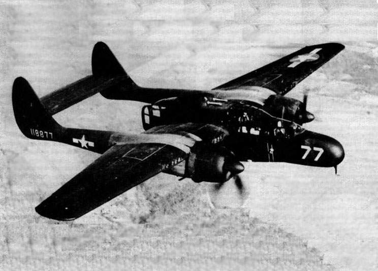The YP-61 in flight