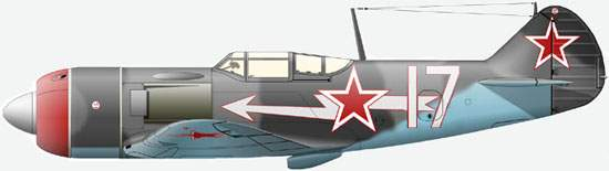 The La-7 from 9-th Guards Fighters Wing 303-rd Division on which major V.D.Lavrenkov flied at winter, 1944-45.