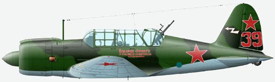 The Su-2 powered by М-82 from 52 bbap, pilot - major A.I.Pushkin, August 1942.