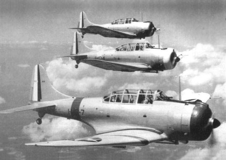 The SBD-1 from VMB-1 at 1940-1941. (1-MB-7, BuNo-1616); (1-MB-4, BuNo-1606)