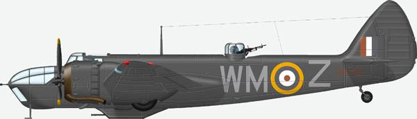 TBristol Blenhiem IVF # WM Z (Z5722) from 68 Sqn, Coltishall 1942