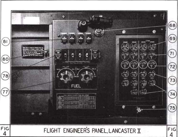 Lancaster X. Flight engineer`s panel