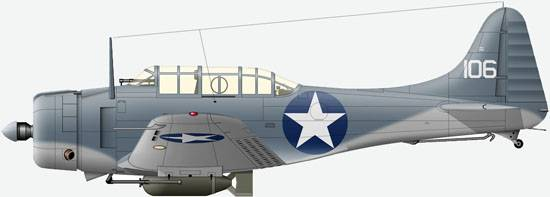 Douglas SBD-2 «Dauntless» from  Sq VMSB-232 US NAVY, August, 1942