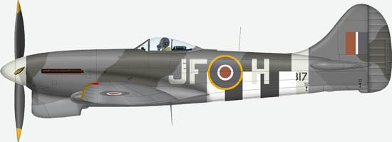 Hawker Tempest Mk.V # JF H from 3 Sqn, RAF Coltishall, 1944