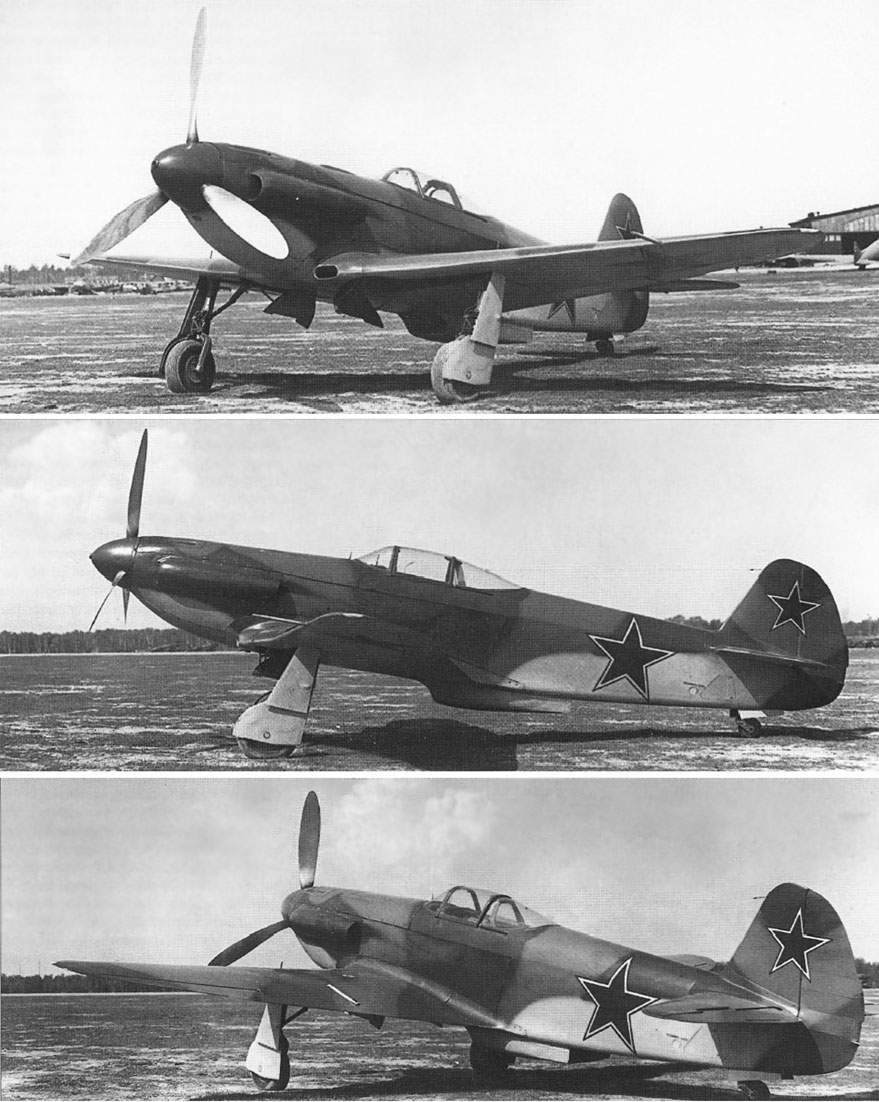Three views of the same Yak-3 in identical aspects following installation of ejector fairings on the exhaust stubs