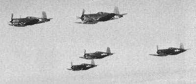 F4U-1 and F4U-1A Corsairs from MCAS Cherry Point, October 1943.