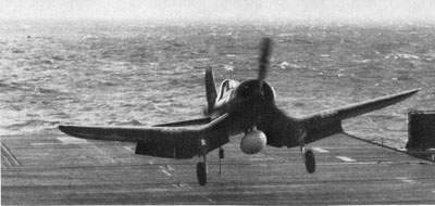 F4U-1D Touches down onboard the USS Ranger in December 1944.