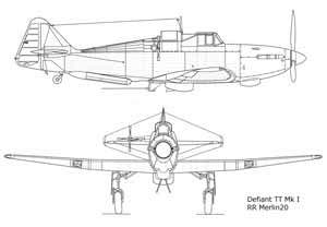 Drawing Defiant Mk1 Merlin III