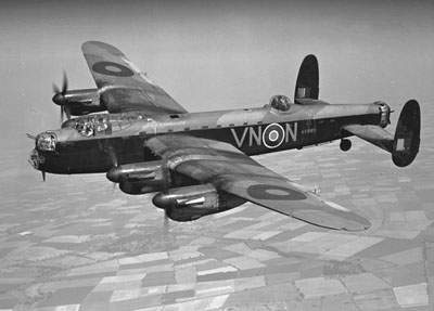 Lancaster I R5689/VN-N of 50 Sqn in flight on August 28, 1942.