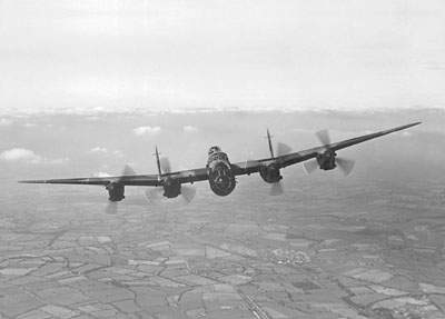 A superth picture from The Airplane archives, capturing a Lancaster in a head-on view