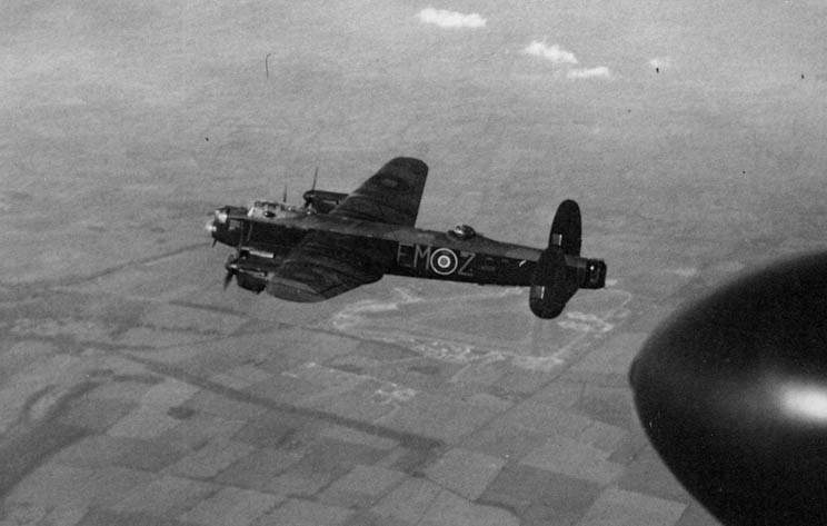 Lancaster LM326/EM:Z of No 217 Squadron on a local flight